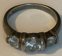 Sterling Silver 925 Stamp JC CZCrystal Trio Ring Size 7 34 engagement Band VTG