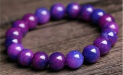Man Woman 6-14mm Natural Purple Sugilite South Africa Round Bead Bracelet Gift