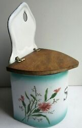 Old French salt box JAPY enameled sheet of eyelets wooden lid 1930
