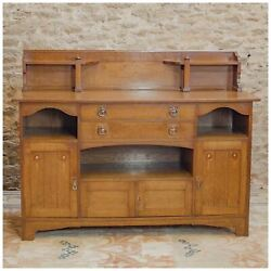 Arts & Crafts English Oak Sideboard with inlaid motifs c. 1920