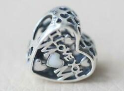AUTHENTIC PANDORA SILVER CHARM BEAD 💋792067EN23 I LOVE YOU MOM MOTHER NEW HEART