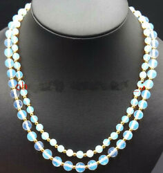 Charring! 6-8mm Faceted White Moonstone Gems Round Beads 2 Row Necklace 17-18''