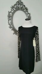 $465.00 Nicole Miller Black Cocktail Sleeves Dress Size 6 NEW $62.48