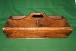 Antique Country Primitive Wooden Farmhouse Divided Cutlery Tray Caddy INV#BS02