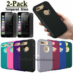 For iPhone 7  7 Plus 8 8 Plus Phone Case Cover+Privacy Glass Screen Protector