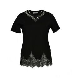 Women#x27;s Plus size Black Embroidered Lace Top 100% Cotton Short Sleeve T shirt $15.19