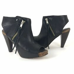 Joie High Heel Booties Size 6 (EUR 36) Black Leather Cork She's Electric $385