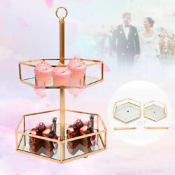 Glass Mirrored Cake Stand Champagne Gold Surface Wedding Party Metal Tray 2 Tier