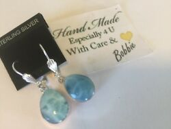 Amazing  handcrafted AAA Larimar Pink Counch earrings   925 silver  e12