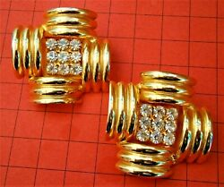 G987* Vintage large gold tone diamante rhinestone square glass Clip on Earrings