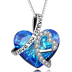 INFINITY LOVE HEART NECKLACE - BIRTHDAY GIFT FOR WIFE WOMEN MOM with Gift Box
