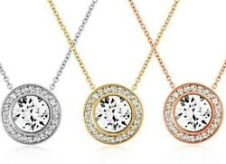 18K Rose Gold Plated Simulated Crystals 2.0 Ct  Round Cut Shiny Halo Necklace