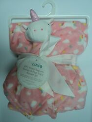 Babe Luxe 2 PC Baby Blanket and Plush Lovey Unicorn Very Plush & Soft Pink NWT