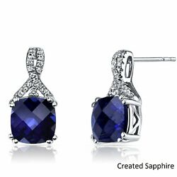 Estate 2 ctw Diamond Created Blue Sapphire Round Stud Silver Earring ITALY MADE