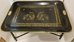 TOLE SIGNED BUTLER TABLE MADE IN ITALY NUMBERED HARVEST BLACK REMOVABLE TRAY