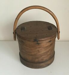 Rare French Antique Wooden Fishing Storage Pail – 1890's $150.00