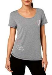 Ideology Breast Cancer Ribbon She's a Fighter Keyhole Back T-Shirt (Charcoal Hea