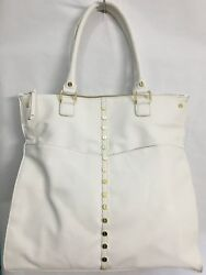 SALE! OLIVIA+JOY Sweetie White Tote Gold Hardware Pebbled Leather NWT $102