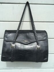 BRIGHTON Business Collection Black Leather Briefcase Style Bag Large