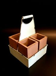 Flatware Caddy Metal & Wood Boxes Rustic Serving Party Buffet Centerpiece