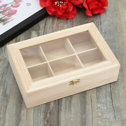 6 Compartments Wooden Tea Box Hinged Glass Lid Tea Bag Storage Box Kitchen Home