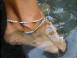 Summer Beach Turquoise Beads Anklet Ankle Silver Chain Foot Bracelet Jewelry USA