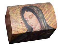 Our Lady of Guadalupe Wood Chest Mini Box Virgen Religious Gift Rosary Trinket