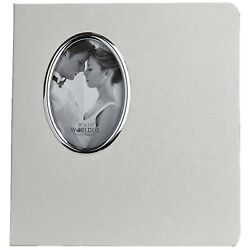 White Wedding Photo Album with Oval Opening on Cover Holds 30 8x10 Photos $28.17