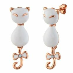 US Seller Betsey Johnson Antique Gold-Tone Crystal Cat Stud Earrings