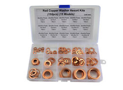 150 piece 15 Sizes Solid Copper Washers Sump Plug Assorted Washer Kit.  $20.19