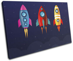 Space Rockets Cartoon Modern For Kids Room SINGLE CANVAS WALL ART Picture Print $109.99