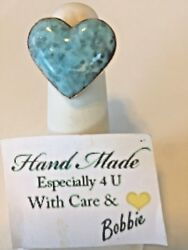 Amazing  handcrafted AAA Larimar   Heart 💕 ring   925 silver size 8 12