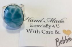 Amazing  LARGE handcrafted AAA  turtleback Larimar Ring  925 silver size  8 12