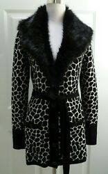 CACH'E BLACK & WHITE BELTED FAUX FUR COLLAR LONG CARDIGAN SWEATER SIZE S