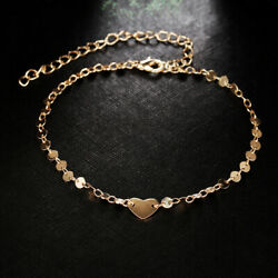 Women Bracelet Heart Gold Beach Beads Barefoot Anklet Foot Chain Jewelry Ankle