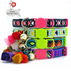 7 12quot; Pet Cat Personalized Collars Colorful Tassels Design ID Tags Puppy Kitten $8.99