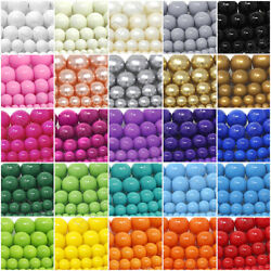 Czech Opaque Glass Beads Round Pearl Coated 4mm 6mm 8mm 10mm 12mm 16quot; Strand $4.98