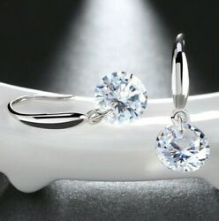 1.00 Ct 18K White Gold Filled Drop Earrings Made with Swarovski Elements