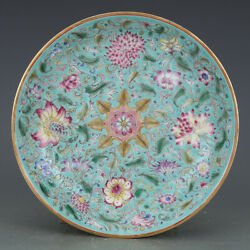 Beautiful Chinese Antique Porcelain Famille Rose Green Glaze Gild Plate.Flowers