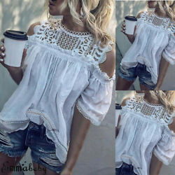 Women Cold Shoulder Lace T Shirts Fashion Ladies Summer Casual Blouse Tops Shirt