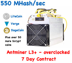 7 Day Mining Contract - 550+ MHs antMiner L3+ Bitmain Litecoin LTC