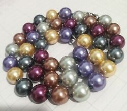 Nice 10MM Multicolor South Sea Pearl Shell Beads Necklace 18