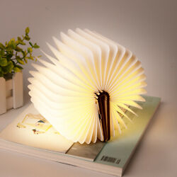 Portable Rechargeable LED Wooden Book Shape Desk Lamp Night Light Booklight