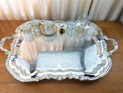 FB ROGERS  LARGE SILVER CHASED FOOTED BUTLER TRAY TEA SERVING TRAY 28.5