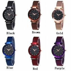 US Women Fashion Watch Starry Sky Crystal Magnetic Stainless Band Wrist Watch