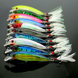 10pcs Fishing Lures Crankbaits Hook Minnow Baits Tackle Crank Fishing Tackle Kit $9.77
