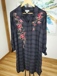 NWT Style amp; Co Plus Boho Remix Hugo Plaid Duster 100036825w 1X amp; 2X $29.95