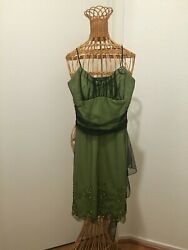 RAMPAGE SHORT COCKTAIL DRESS SIZE SMALL S LIME GREEN WITH BLACK WITH BROCHE $40.00