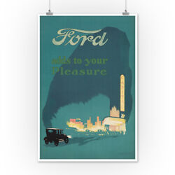 Ford Vintage Poster (artist: Butler) c. 1918 (Art Posters Wood & Metal Signs)
