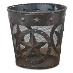 Waste Basket Trash Can Garbage Metal Texas Star Western Rustic Home Decor Gift $49.65